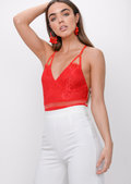 Lace Backless Mesh Bodysuit Red