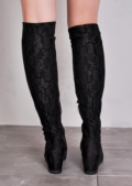 Lace Detail Wedge Knee High Long Boots Black