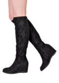 Lace Detail Wedge Knee High Flat Long Boots Black