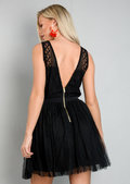 Lace Mesh Tulle Skater Mini Dress Black