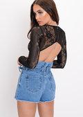 Lace Plunge Stripe Bodysuit Black