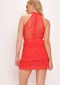 Lace Tiered Frill Mini Dress Red