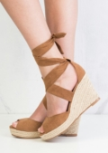 Lace Up Espadrille Wedge Sandals Suede Camel