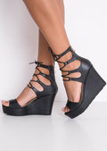 Lace Up Faux Leather Platform Wedge Heeled Sandals Black