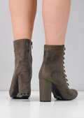 Lace Up Faux Suede Military Style Ankle Boots Khaki Green