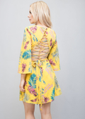 Lace Up Flared Sleeve Tropical Print Dress Yellow