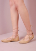 Lace Up Pointed Ballet Closed Toe Flats Beige