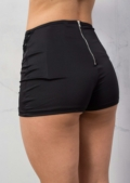 Lace Up Shorts Wet Look Black