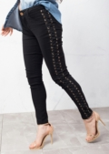 Lace Up Skinny Jeans Black