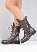 Block Heel Lace Up Studded Mid Calf Biker Boots Bronze Brown