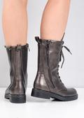Block Heel Lace Up Studded Mid Calf Biker Boots Bronze Brown