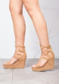 Lace Up Suede Platform Wedge Heeled Sandals Brown