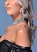 Layered Chain Style Diamante Choker Silver