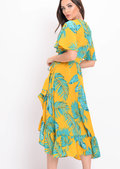 Leaf Print Wrap Over Frill Midi Dress Yellow