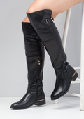 Faux Leather Knee High Long Biker Boots with Buckle Black