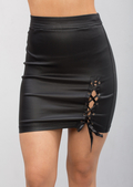 Leather Look Tie Split Mini Skirt Black