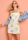 Lemon and Polka Dot Print Cami Dress White