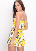 Lemon Print Tie Front Co Ord Set White