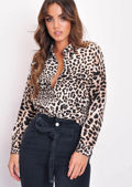 Leopard Print Collared Button Down Shirt Multi