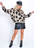 Leopard Print Crew Neck Slouchy Knit Jumper Brown
