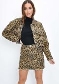 Leopard Print Crop Denim Jacket Multi
