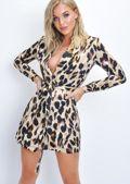 Leopard Print Double Breasted Blazer Mini Dress Multi