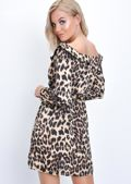 Leopard Print Frill Wrap Front Slit Mini Dress Multi