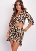 Leopard Print Frill Wrap Over Mini Skirt Multi