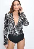 Leopard Print Plunge Wrap Front Bodysuit Multi
