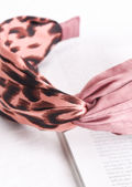 Leopard Print Satin Knot Front Headband Pink