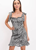 Leopard Print Satin Tie Strap Cup Detail Skater Dress Grey