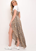 Leopard Print Side Split Maxi Dress Multi