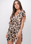Leopard Print Split Side Mini Dress Multi