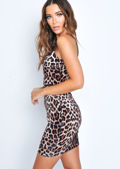 Leopard Print Velvet Slip Dress Multi