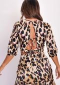 Leopard Print Wrap Over Open Back Tie Crop Top Multi