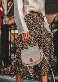 Leopard Print Wrap Ruffle Midi Skirt Multi