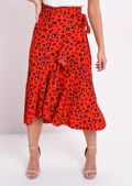 Leopard Print Wrap Ruffle Midi Skirt Red