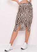 Leopard Print Wrap Midi Skirt Multi