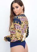 Leopard Scarf Print Plunge Wrap Front Bodysuit Blue