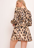 Leopard Wrap Over Skater Dress Multi