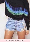 Fringe Detail Sweatshirt Crop Jumper Black