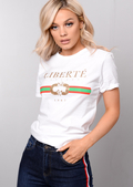 Liberte Slogan T-Shirt White