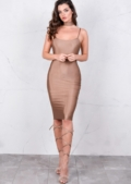 Lightweight Metallic Bodycon Midi Dress Grey Mocha