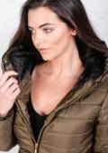 Lightweight Quilted Puffer Jacket Khaki Coat