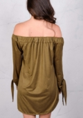 Lightweight Soft Touch Faux Suede Buttoned Bardot Dress khaki