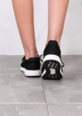 Lightweight Textured Casual Trainers White Sole Black