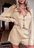 Long Sleeved Knitted V Neck Button Down Top Shorts Co Ord Set Beige