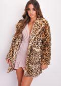 Longline Button Up Leopard Print Faux Fur Coat Multi