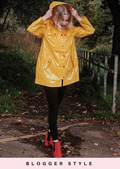Longline High Shine Rain Mac Festival Hooded Jacket Yellow