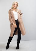 Longline Tie Waist Hooded Jacket Coat Camel
